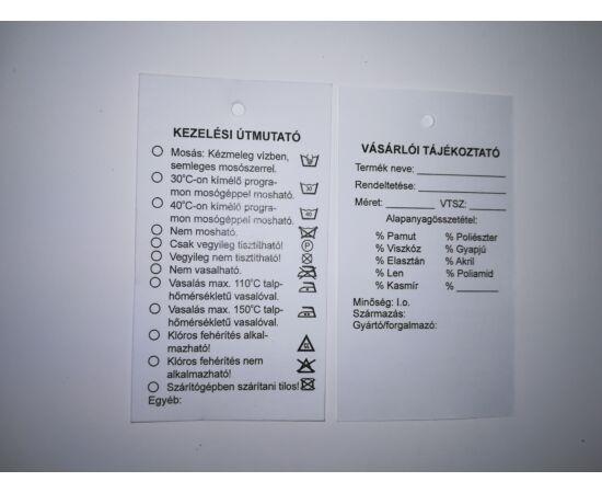 Függő etikett 45×80mm - Vásárlói tájékoztató+ Kezelési útmutató  ( 250 db /csom)